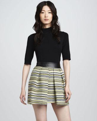 Milly Naomi Leather-Waist Skirt