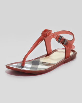 Burberry Jelly Sandals w/Check Lining, Pink Azalea, Youth