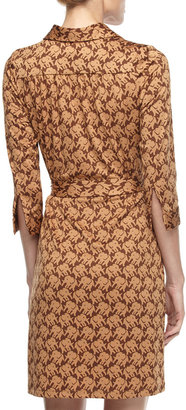 Julie Brown JB by Elephant-Print Tie-Waist Dress, Gold
