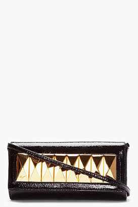 Giuseppe Zanotti Black Patent Leather Studded Demon Clutch