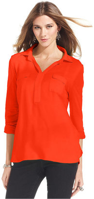 Style&Co. Top, Long-Sleeve Polo Blouse