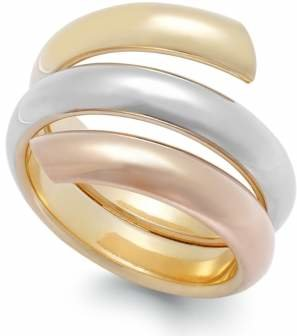 Italian Gold Tri-Tone Bypass Ring in 14k Gold