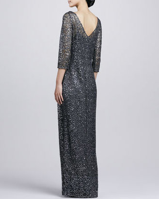 Kay Unger New York Three-Quarter-Sleeve Sequined Gown