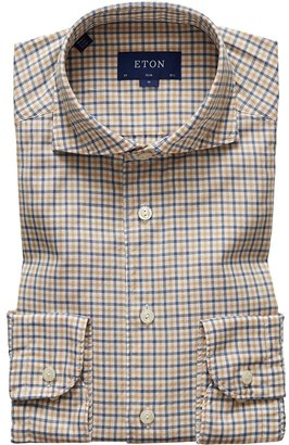 Eton Soft Beige & Navy Checked Flannel Shirt - Slim Fit