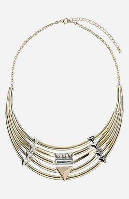 Topshop 'Stud & Tube' Collar Necklace Mixed Metal