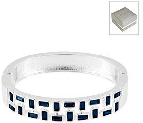 Kenneth Cole Blue Baguette Cut-Out Hinged Bangle Bracelet in a Gift Box