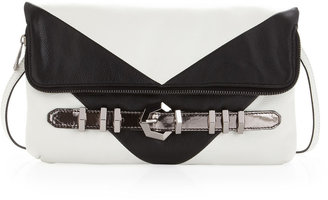 Oryany Athena Chevron Clutch, White/Black