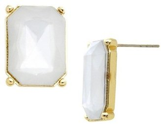 Stud Earrings - Gold/White