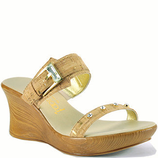 Footnotes Sarina - Cork Double Band Slide Wedge Sandal