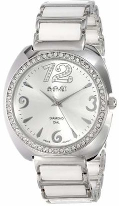 August Steiner Women's AS8066WT Swiss Quartz Diamond & Crystal White Ceramic Bracelet Watch