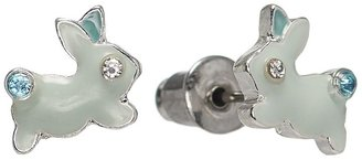 Lauren Conrad silver tone simulated crystal rabbit stud earrings