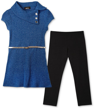 Amy Byer Kids Set, Girls Belted Sweater Dress and Leggings