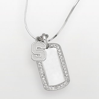 Logoart Michigan State Spartans Sterling Silver Cubic Zirconia Dog Tag Pendant