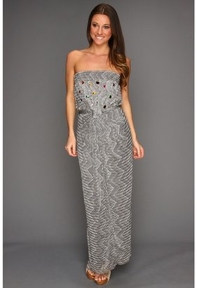 T-Bags Tbags Los Angeles - Long Tube Dress with Cinched Tie Waist and Colored Gem Embellishment (BO4) - Apparel