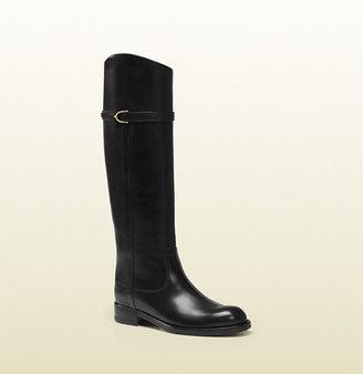 Gucci Eleonora Black Leather Riding Boot