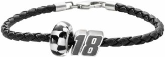 """Insignia Collection NASCAR Kyle Busch Leather Bracelet & Sterling Silver """"18"""" Bead Set"""