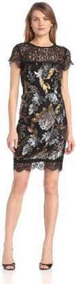 Nicole Miller Women's Metalic Floral Sequin and Lace Dress