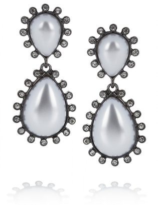 Kenneth Jay Lane Gunmetal-plated, crystal and resin clip earrings