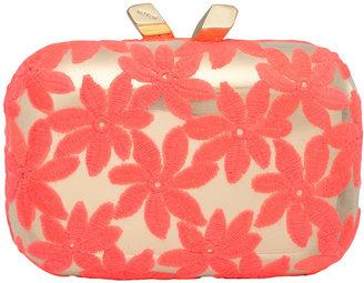 Kotur Margo Floral-Embroidered Minaudiere, Pink/Gold