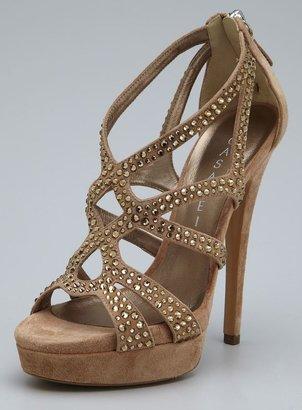 Casadei Suede & Rhinestone High Heel Strappy Sandal