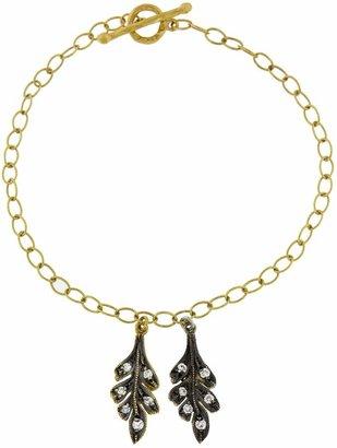 Cathy Waterman Double Oak Leaf Bracelet with Diamonds - Gold