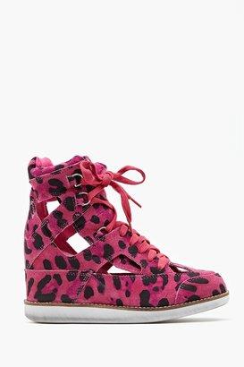 Nasty Gal Padua Wedge Sneaker - Pink Leopard