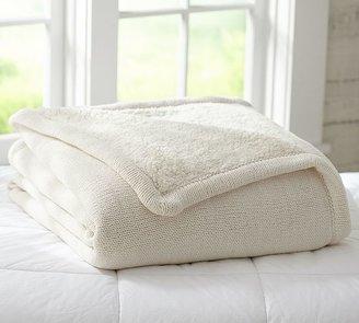 Pottery Barn Chenille-Knit Sherpa Blanket
