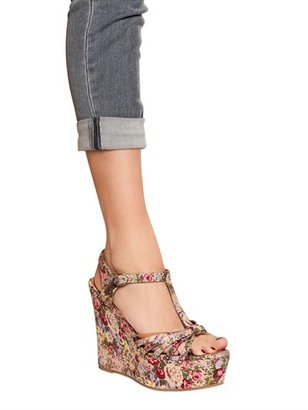 Jeffrey Campbell 120mm Swansong Cotton Floral Wedges