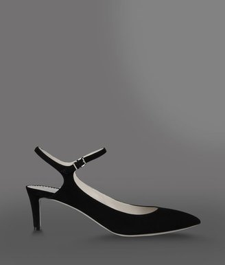 Emporio Armani Pointed Slingback In Suede