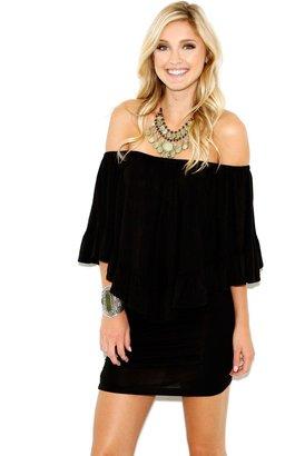 Elan Off Shoulder Overlay Ruffle Dress In Black