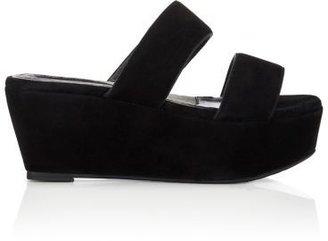 Robert Clergerie Women's Frazzia Double-Band Platform Sandals-BLACK $495 thestylecure.com