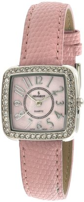 Peugeot Women's PQ8282PK Silver-Tone Swarovski Crystal Accented Pink Leather Strap Watch