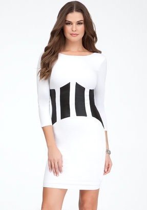 Bebe Coated Patchwork Jersey Dress