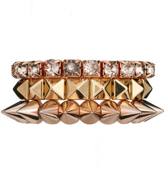 Asos Pyramid Spike & Stone Bracelet Pack