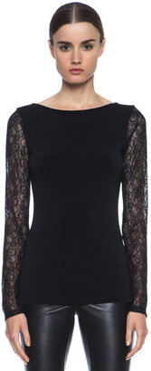 Alice + Olivia Lenni Poly-Blend & Lace Top in Black