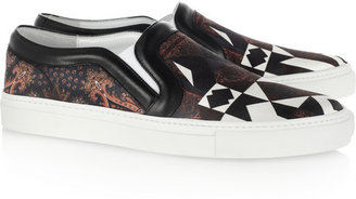 Givenchy Printed satin and leather sneakers