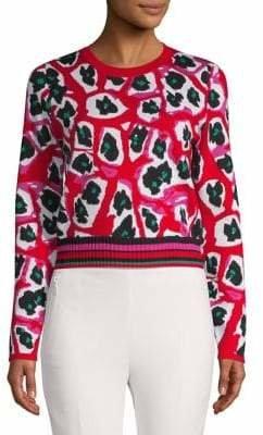 Diane von Furstenberg Printed Cropped Sweater
