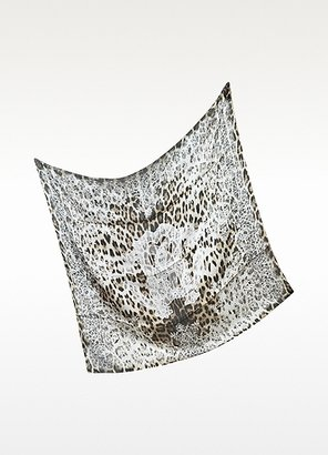Roberto Cavalli Lace and Animal Print Twill Silk Square Scarf