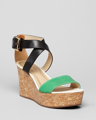 Juicy Couture Platform Wedge Sandals - Forrest Cork Colorblock