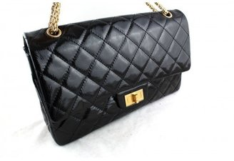 Chanel excellent (EX Black Patent Leather 12-Inch 227 Reissue 2.55 Jumbo Classic Double Flap Shoulder Bag