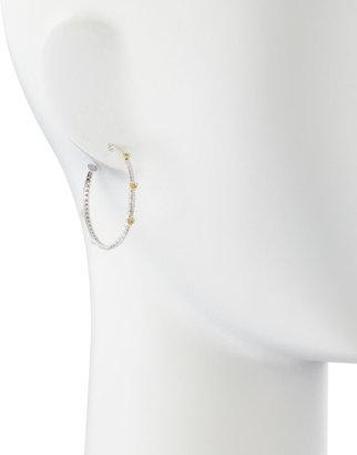 Judith Ripka Linen Heart Hoop Diamond-Inset Earrings