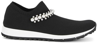 Jimmy Choo Verona Faux Pearl-embellished Stretch-knit Sneakers