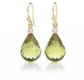 Gump's Faceted Green Amber & Diamond Earrings