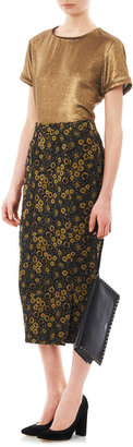 Rochas Floral jacquard pencil skirt