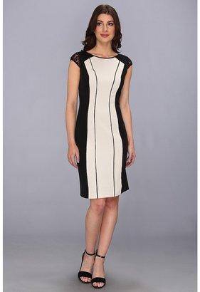 Adrianna Papell Beaded Shine Sheath Dress (Vanilla) - Apparel