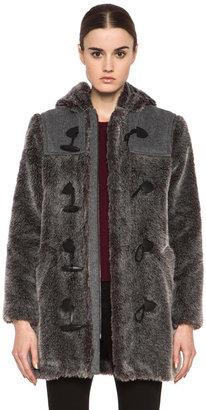 A.P.C. Faux Fur Duffel Coat in Grey