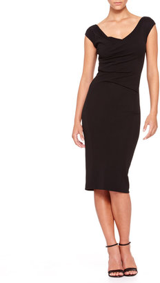 Donna Karan Cap-Sleeve Drape-Front Dress
