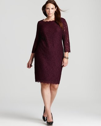 Adrianna Papell Plus Lace Dress - Three Quarter Sleeve