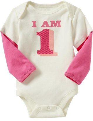"""Old Navy """"I Am 1"""" 2-in-1 Bodysuits for Baby"""