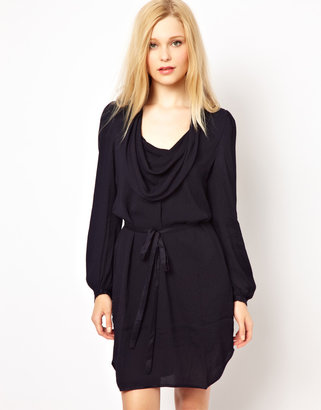 French Connection Cowel Neck Tie Waisted Dress